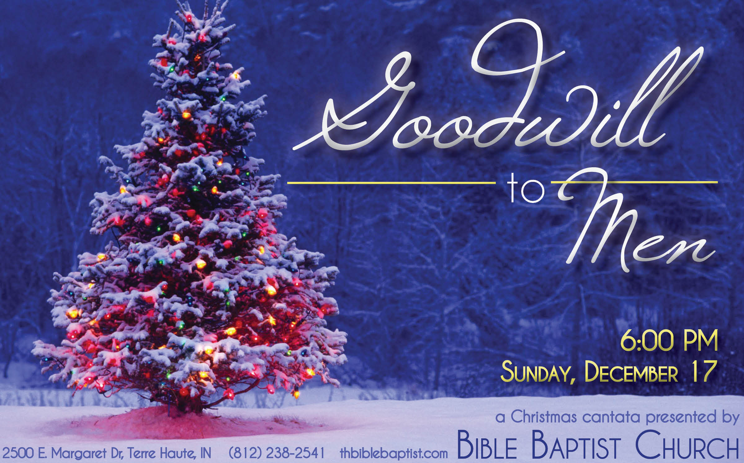 You and your family and friends are invited to join us on Sunday, December 17, at 6:00 PM, as Bible Baptist Church presents the Christmas program entitled ...